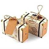 Awtlife 50pcs Suitcase Favor Box with Kraft Card and Burlap Twine for Wedding Party Birthday Baby Shower Decoration