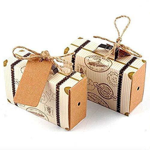 Juego de 50 cajas de papel natural para bodas, fiestas y dulces de Awtlife