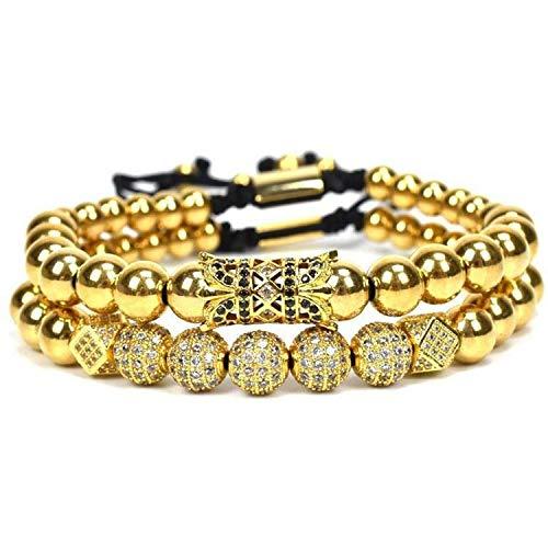 Bracelet Monet Pattern (Henraly Adjustable Gold Color Copper Beads Couple Distance Bracelets for Women Men Micro Pave CZ Geometric Braided Bracelet 2018,WAB1270-1,United States)