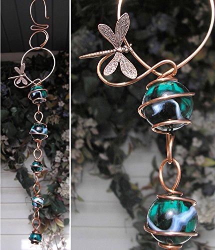Dragonfly Suncatcher Cascade - Metal Sculpture - Glass Copper Art - Yard Lawn Outdoor Pond Decor Teal ()