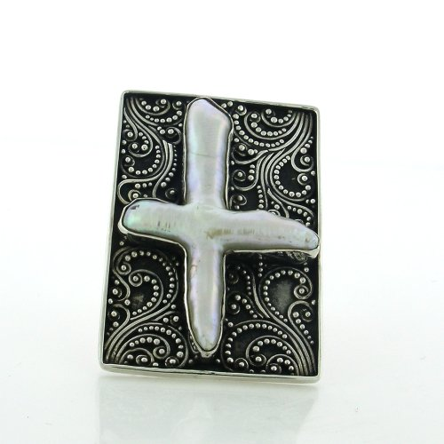 Sterling Silver Adjustable Biwa Pearl Cross Handmade Cocktail Ring with Balinese Scrollwork (Biwa Cross)