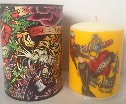 Ed Hardy Candle Unscented 3 by 4 Pillar, Sailor Girl
