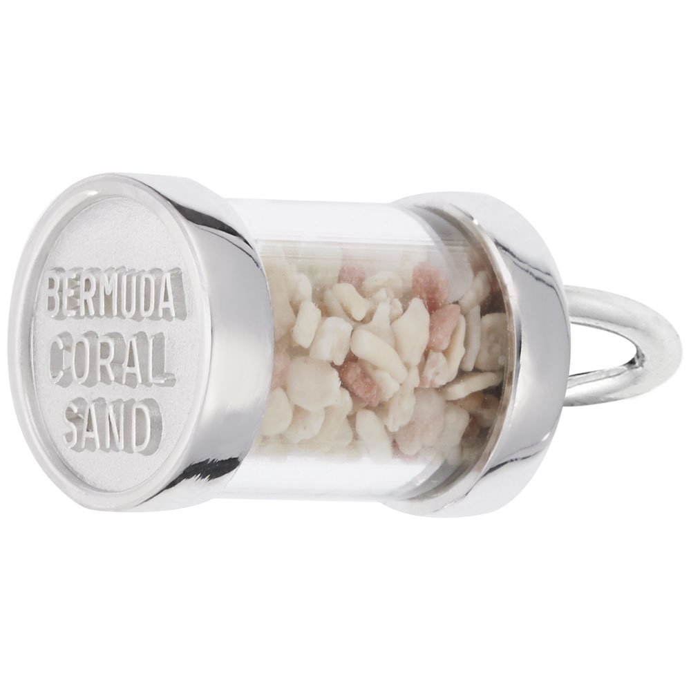 Bermuda Sand Capsule Charm In Sterling Silver, Charms for Bracelets and Necklaces