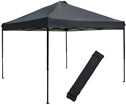 abba patio 10 x 10 feet outdoor pop up canopy portable folding canopy instant shelter with roller bag dark grey