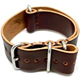 DaLuca Shell Cordovan Military Watch Strap - Color 8 (Matte Buckle) : 20mm