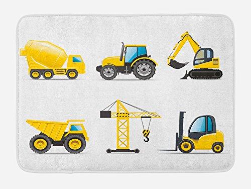 Lunarable Boy's Room Bath Mat, Cartoon Style Heavy Machinery Truck Crane Digger Mixer Tractor Construction, Plush Bathroom Decor Mat with Non Slip Backing, 29.5 W X 17.5 W Inches, Yellow - Boys Rug Bath For