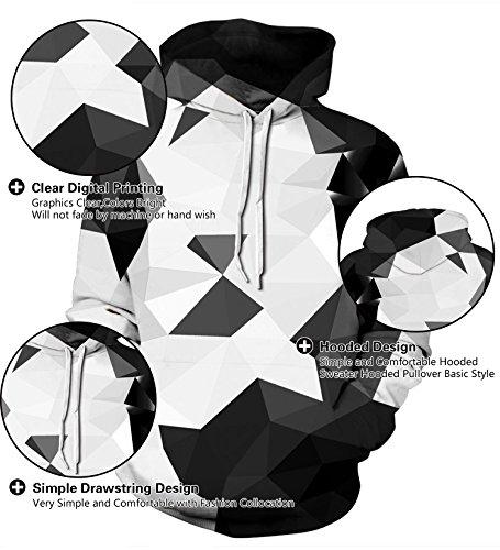 Memoryee Pullover 2 Cristallo Unisex 3d Stampato Coulisse Realistico Con Graphic Creativo Pouch Cappuccio Digital Colorato Kangaroo Felpe qrAHqxU6