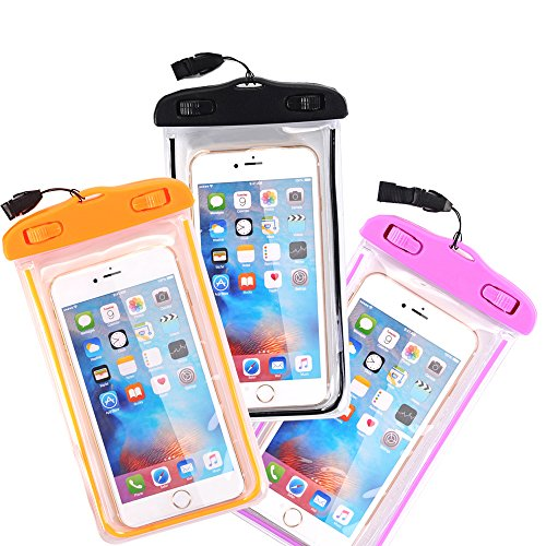 Waterproof Case, 3 Pack CTREEY Universal Clear Transparent Waterproof Bag with Touch Responsive Transparent Screen Protector for iPhone 6S 6 Plus, 5S SE, Samsung Galaxy S7 S6 edge, Note 5 4 3 (B/O/P)