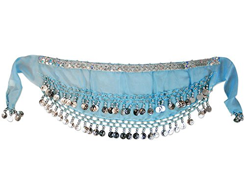 [Kids Turquoise dance skirt] (Scarf Coin Belly Dance Costumes)