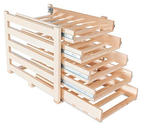 Wine Logic WL-MAPLE30 In-Cabinet Sliding Tray Wine Rack, 30-Bottle, Solid Maple Wood by Wine Logic