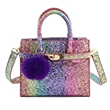 CMK Trendy Kids Chunky Glitter Rainbow Crossbody Handbags Purses for Girls With Purple Poms (80013_Rainbow)