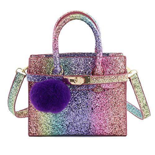 Purse Handbag Girls (CMK Trendy Kids Chunky Glitter Rainbow Crossbody Handbags Purses for Girls with Purple Poms (80013_Rainbow))