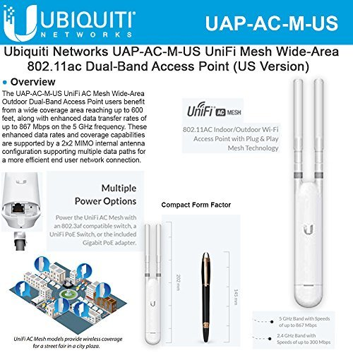 Ubiquiti Networks UAP-AC-M-US UniFi AC Mesh Wide-Area In/Out Dual-Band Access Point (US Version) by UBNT
