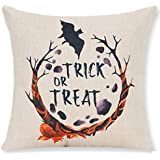Pumpkin Maple Leaf Wreath Personalized Trick Or Treat Halloween Gifts New Home Room Sofa Car Decorative Cotton Linen Throw Pillow Case Cushion Cover Square 18 X 18 Inches