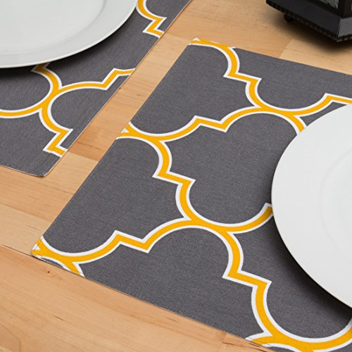 Charcoal & Mustard Yellow Trellis Placemats 4/Pack