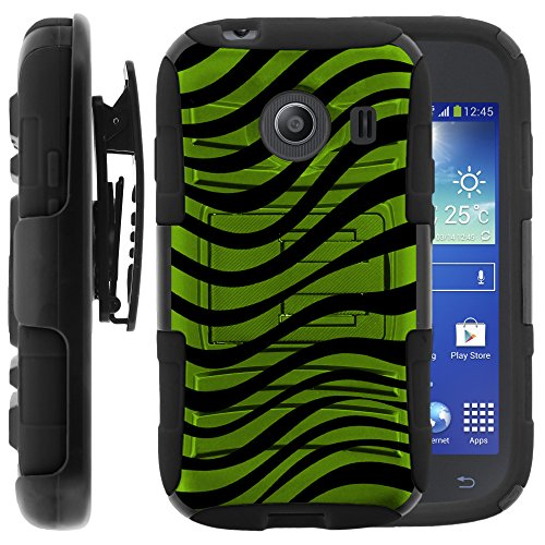 Samsung Galaxy Ace Style Case, Samsung Galaxy Ace Style Holster, Two Layer Hybrid Armor Hard Cover with Built in Kickstand for Samsung Galaxy Ace Style S765C SM-G310 from MINITURTLE | Includes Screen Protector - Green Zebra