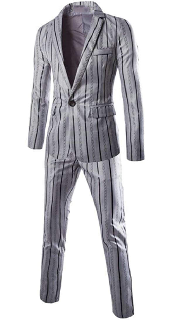 Etecredpow Mens Stylish Sports Coat Striped Tailored Collar 2 Piece Blazer Set