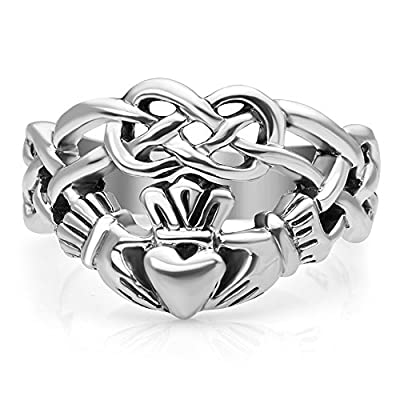 Chuvora Sterling Silver Celtic Knot Infinity Symbol Irish Claddagh Friendship and Love 4 cm Wide Band Ring