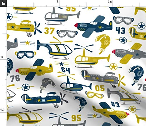 Spoonflower Flying Fabric - Vintage Airplane Airplanes Heilcopters Kid Boy Nursery Helicopters Goggles Print on Fabric by The Yard - Velvet for Upholstery Home Decor Bottomweight Apparel]()