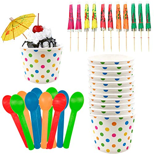Halloween Ice Cream Sundae Bar (Ice Cream Sundae Kit - 12 Ounce Polka Dot Paper Treat Cups - Heavyweight Plastic Spoons - Paper Umbrellas - 12 Each Pink Orange Yellow Green)