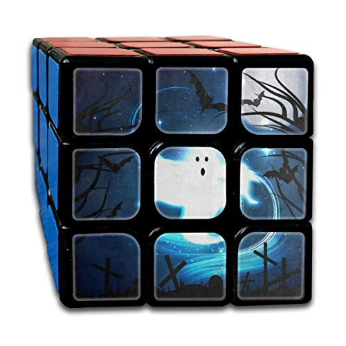 Speed Cube 3x3 Amazing Magic Cube Sticker Halloween Night Ghost Bat Forest Moon Puzzles Toys (56mm)]()