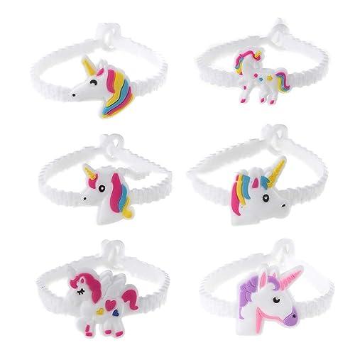 Hoveey 24 Pulseras de Unicornio de Goma, para Fiestas, Calcetines, Regalos, Bolsas de Fiesta de cumpleaños, Regalo para niños