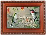 Hummingbirds Woodgrain Music Box Plays Wind Beneath Wings