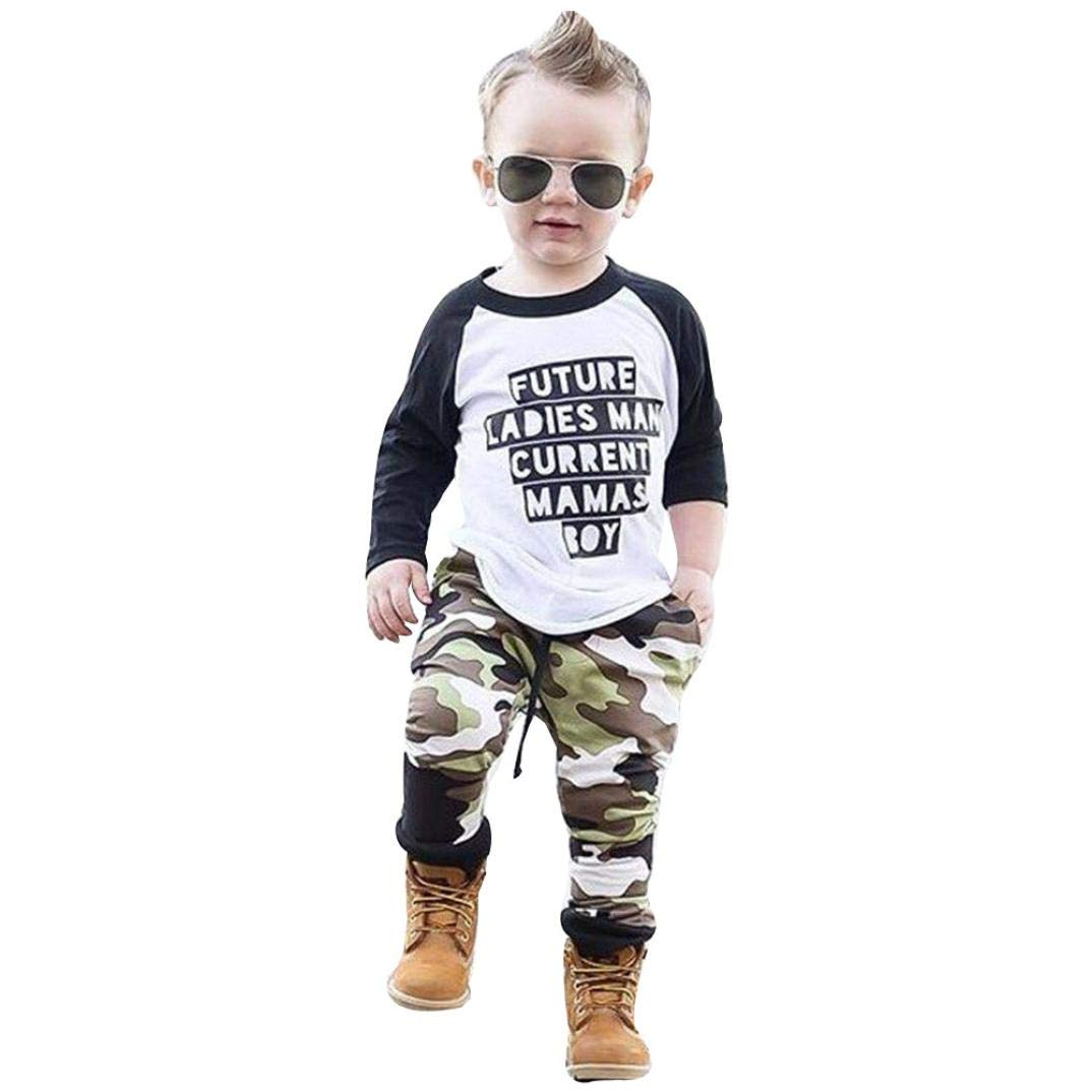 d1ca323f Amazon.com: GoodLock Baby Boys Clothes Set Toddler Kids Letter T-Shirt Tops+Camouflage  Pants Outfits 2Pcs: Clothing