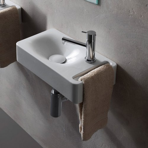 Scarabeo 1513-One Hole Hung Rectangular Ceramic Wall Mounted Sink with Towel Holder, White ()