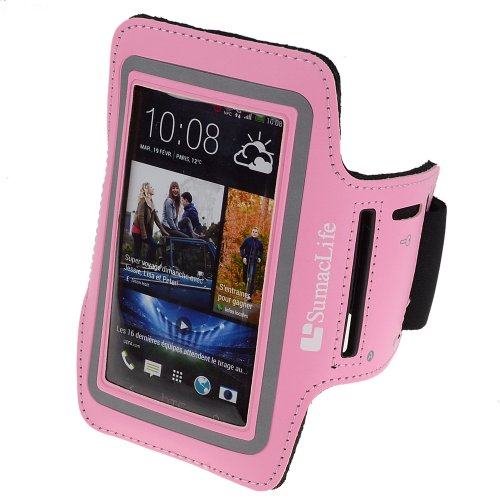 SumacLife Outdoor Sports Neoprene Armband Case Pouch for HTC ONE 8XT / ONE X / One Remix / ONE mini 2 / HTC Desire 612 / 610 / 510 / HTC One E8(Pink)