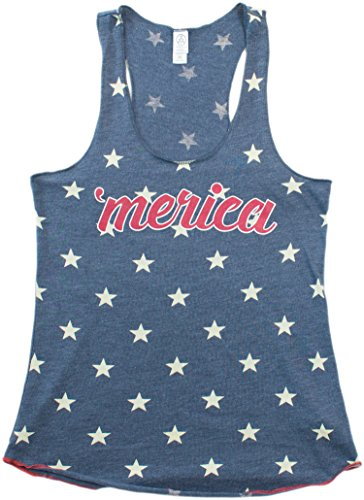 MERICA | Junior's Fitted USA Stars & Stripes Racerback American Girly Tank Top