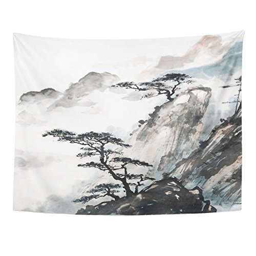 Emvency Tapestries Print 60x80 Inches Pink Japanese Chinese Landscape Painting China Ink Mountain Tree Garden Brush Wall Hangings Home Decor from Emvency