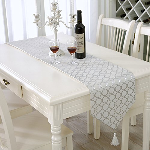 Incroyable Aothpher 13x83 Inch Classic Washable Silver Table Runner With Dots Patterns  For Wedding And Party Decor