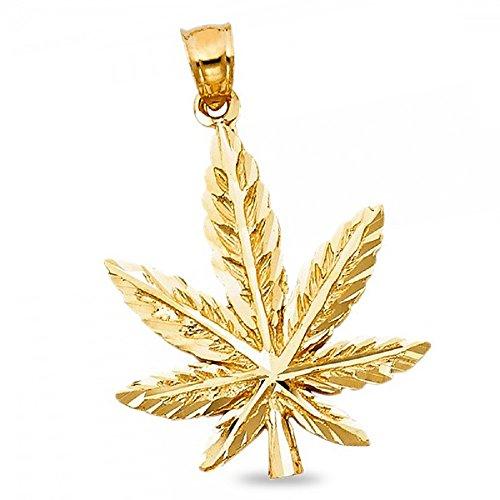 14k Yellow Gold Marijuana Leaf Pendant Pot Charm 420 Cannabis Diamond Cut Hip Hop Style 27 x 24 mm by GemApex