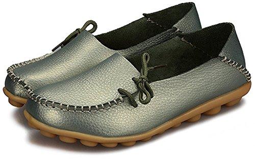 Fangsto Femme Vachette Cuir Mocassins Mocassins Chaussures Plates Slip-ons Sty-1 Sauge Métallique