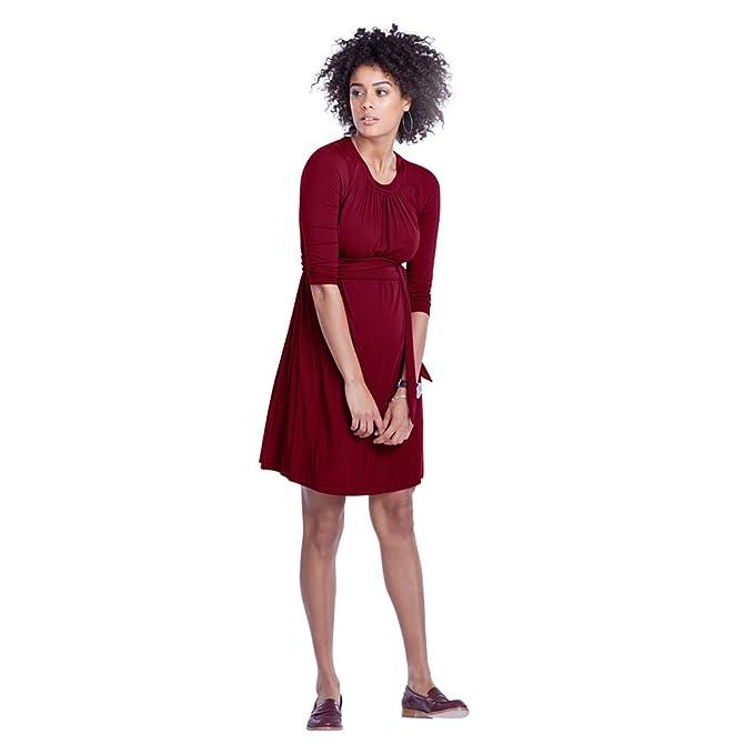 Decdeal - Vestido de Premamá Embarazada con Cinturón, Elegante Cuello Redondo, Medias Mangas,