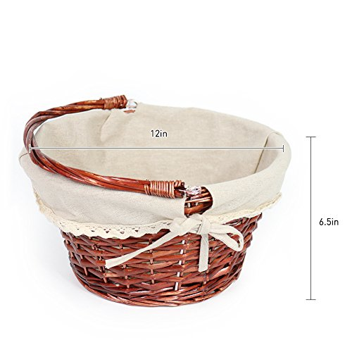 OYPEIP(TM)Father's Day Gift Basket Traditional Fashion Basket Kids Gift Basket Woven Willow Round Wicker Storage Basket With One Drop Down Handle Fabric Cotton Linen For Office, Bedroom, Closet, Toys by KRZIL (Image #3)