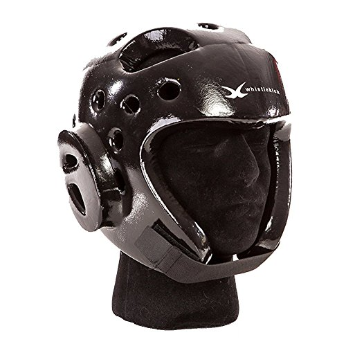whistlekick Martial Arts Sparring Helmet (Stealth Black, Medium) with FREE Backpack-Taekwondo Martial Arts Sparring Equipment Gear Set (Headgear Guard Foam Ear)