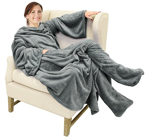 Catalonia Wearable Fleece Blanket with Sleeves & Foot Pockets for Adult Women Men