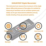 KASUNTEST Dual Input Digital Manometer Air Pressure Meter Gas Pressure Tester/w 11 Units