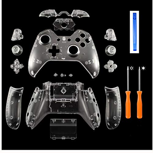 DeHasion Replacement Matte Controller Full Housing Shell Full Set Faceplates Buttons Xbox One Controller The 3.5 mm Headset Jack Xbox One Controller Shell Kit 3.5 Port (Clear)
