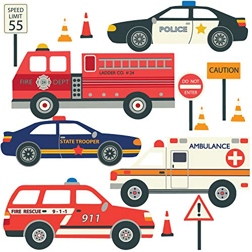 EMS Emergency Vehicles Wall Decals Fire Trucks, Ambulance, Police Cars Wall Decals Eco-Friendly Peel and Stick!