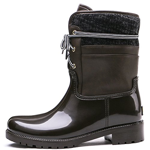 TONGPU Lining Women with Rain Warm Half Brown Boots rxrwaYqC