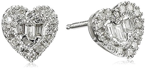 Gold Baguette Diamond Earrings - 10k White Gold Diamond Baguette Heart Stud Earrings (1/10cttw, I-J Color, I2-I3 Clarity)