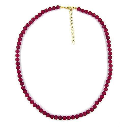 ffd785822143 Collar de Cuentas 6Mm Burdeos Aburrido  Amazon.es  Joyería