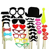 JUYO VONSAN® Colorful Photo Booth Props On A Stick Mustache Party Wedding Christmas Birthday Favor for Children (32pcs)