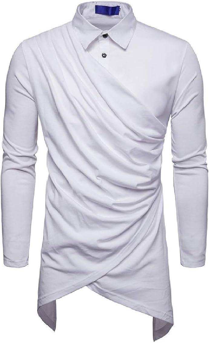 Coolred-Men Oversize Lounge Draped Irregular Button Down Shirt