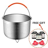 MOONBROOK Steamer Basket with Silicone Handle for Instant Pot 6 or 8 Quart, 9inch, 304 Stainless Steel, Silver, 6PCS Vegetable Basket Pressure Cooker Accessories Set
