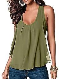 Amstt Women Crewneck Sleeveless Chiffon Casual Loose Tank Top Shirt