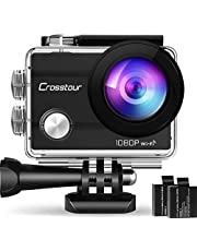 """Crosstour Action Cam Sport Subacquea WiFi Camera 1080P 2""""LCD Full HD 2 Batterie 1050mAh 170°Grandangolare e Kit Accessori per Ciclismo Nuoto e Altri Sport Esterni"""